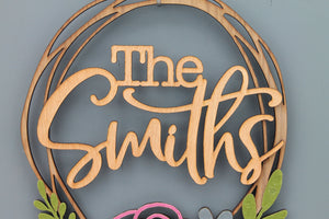 Floral Wreath Family Sign