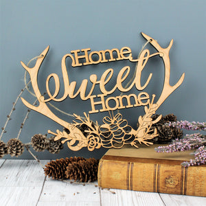 Home Sweet Home Wooden Antler Decoration