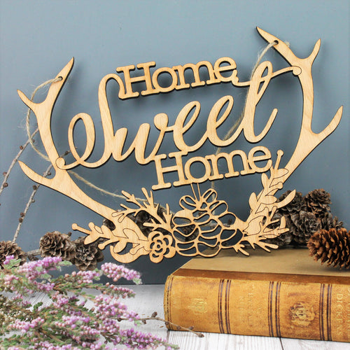 Home sweet home wooden antler rustic decoration