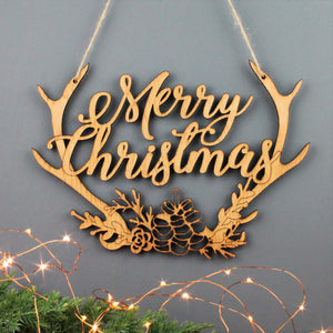 Merry Christmas Wooden Antler Decoration