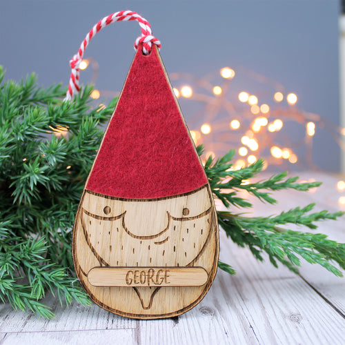 Personalised Wooden Gnome Tomte Bauble Nordic Rustic Decor