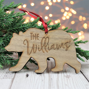 Family Bear Personalised Wooden Christmas Bauble