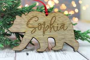Personalised Name Bear Wooden Christmas Bauble