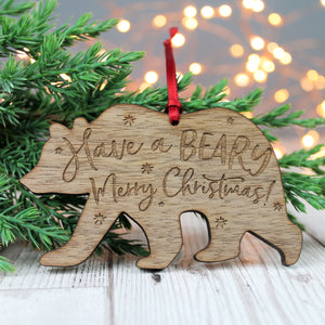 Beary Merry Christmas Wooden Bear Bauble
