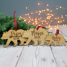 Bear Family Christmas Wooden Bauble