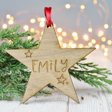 Personalised Name Wooden Christmas Star Bauble