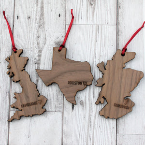 Personalised Housewarming Place / Country / Map Wooden Christmas Bauble