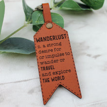 Wanderlust Leather Keychain - Dictionary Definition Travel Quote