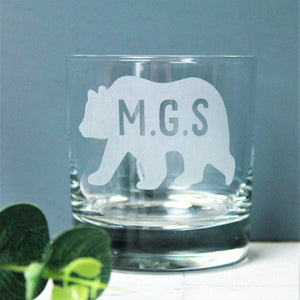Custom Initial Bear Glass