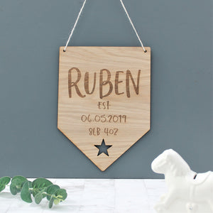 Wooden Personalised Kids Name Sign For Nursery