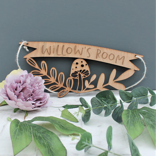 Personalised Woodland Mushroom Kids Name Sign For Nursery