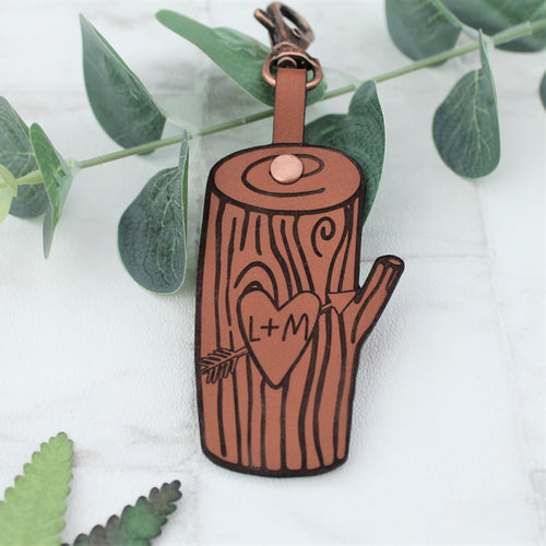 Tree Carving Leather Keyring