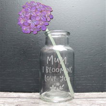 Engraved glass vase with wooden hand painted hydrangea