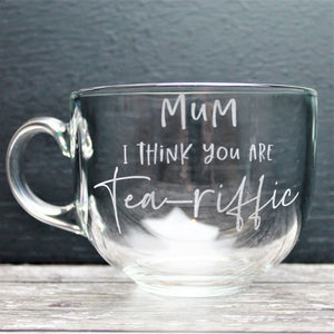 tea lovers mug for mothers day. Glass large mug