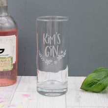 custom gin lover glass, engraved with the name of choice with a floral design underneath