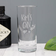 Gin glass engraved with personalised text. Perfect gift for her