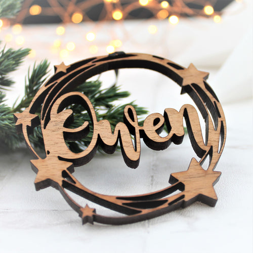 Christmas star bauble with personalised name made from wood with star design