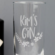 Gin glass for bestie personalised with name of choice and floral design
