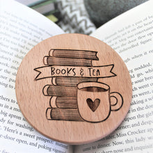 tea and book addict wooden coaster