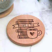 books and tea engraved wooden round coaster for bookworm