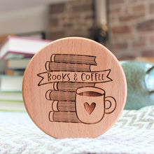 wooden coaster for coffee lover bookworm