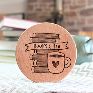 wooden engraved coaster for book and tea lover