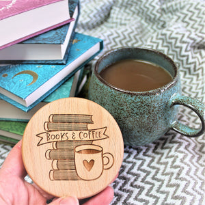coffee and book lover coaster - round wooden engraved