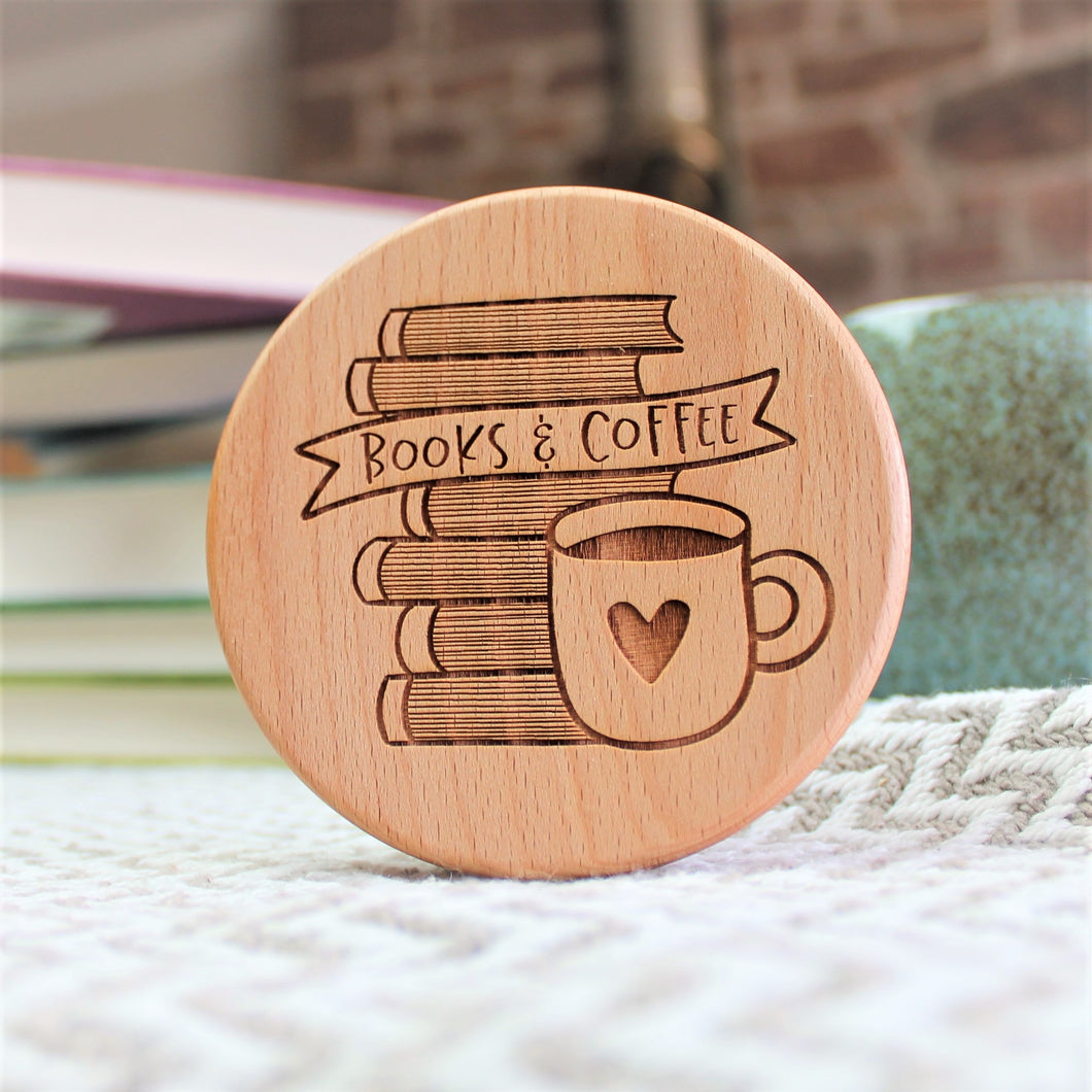 Books and coffee wooden engraved coaster