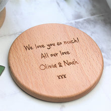 round wooden coaster engraved