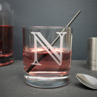 Custom initial engraved luxury glass for a gin lover