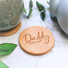 daddy since custom year engraved wooden coaster