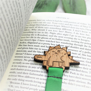 wooden dinosaur bookmark for boys with green ribbon