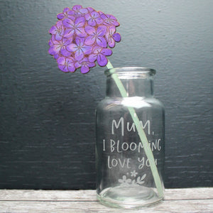 wooden hand painted flower in an engraved vase for mothers day