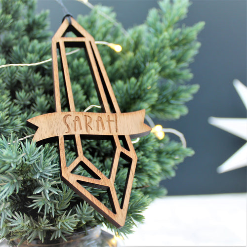 geometric crystal wooden Christmas ornament, personalised with name