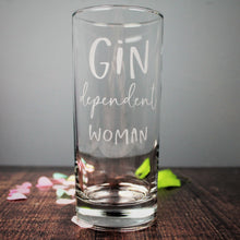 Gin glass engraved with the text gin dependent woman. Ideal 50th birthday gift for her