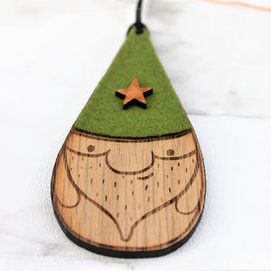 green hat christmas santa bauble decoration Made from wood and felt