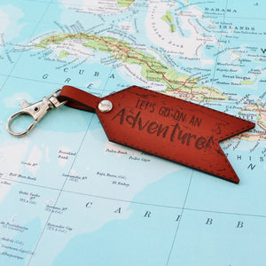 Lets Go On An Adventure Leather Keychain - Travel Quote