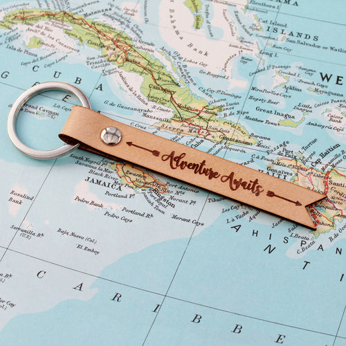 Adventure Awaits Boho Leather Keychain Keyring