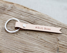 Girl Boss Natural Leather Keychain Keyring