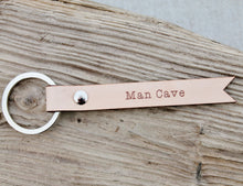 Man Cave Keychain Keyring Natural Leather