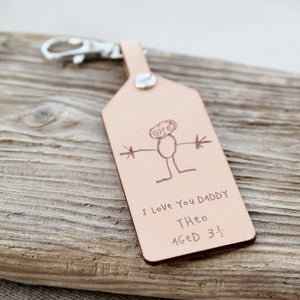 Kids Drawing Art Customised Personalised Leather Keychain Keyring