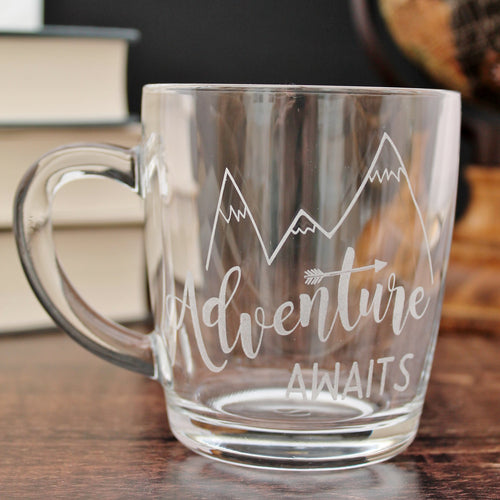 Adventure Awaits Glass Coffee Mug