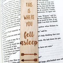 This is Where You Fell Asleep Bookmark Funny Arrow Book Lover Gift