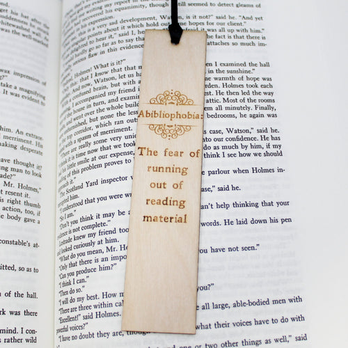 Abibliophobia: Wooden Bookmark Funny Book Lover Gift