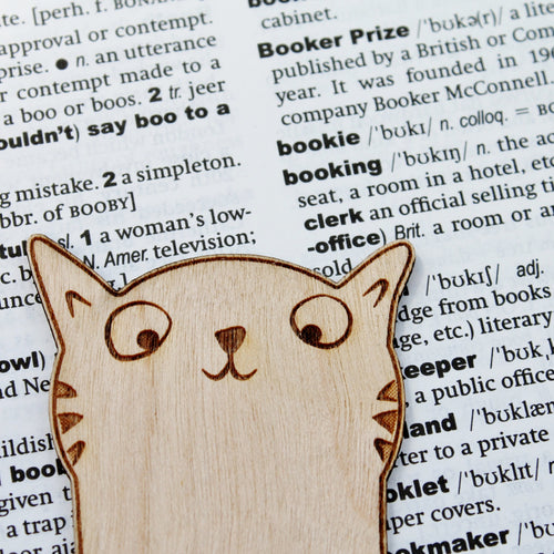 Sneaky Cat Bookmark Wooden Engraved