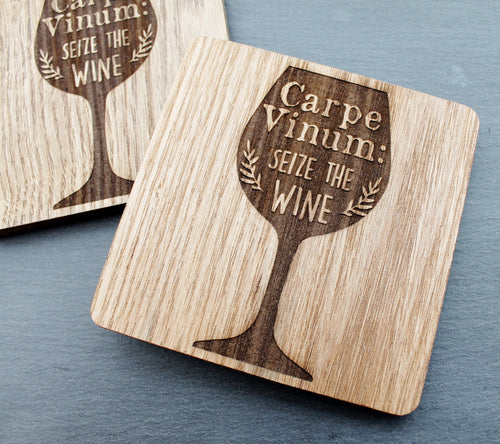 Carpe Vinum: Seize the Wine - Engraved Wooden Coaster