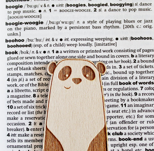 Wooden Panda Bear Bookmark