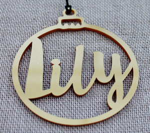 Customised Name Bauble Gold Plastic Christmas Tree Decoration Cut Out Acrylic Metallic