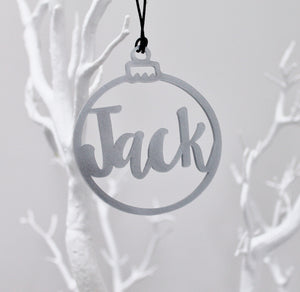 Customised Name Bauble Silver Sparkle Plastic Christmas Tree Decoration Cut Out Acrylic Metallic