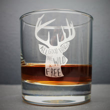 Engraved whisky tumbler glass with stag design and quote